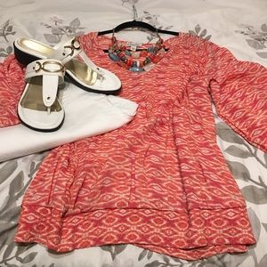 Kim Rogers Coral & white print pop over top - 3X